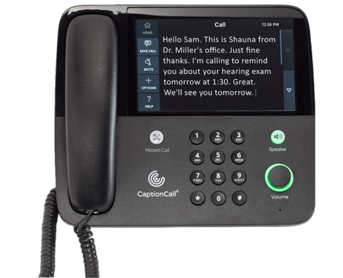 A CaptionCall telephone showing the transcript of a received phone call