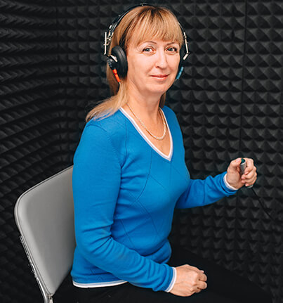 Woman at a hearing test